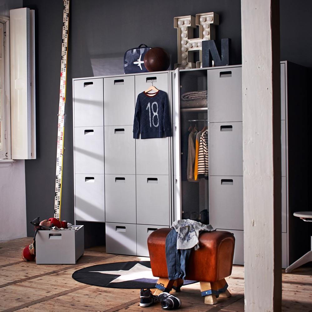 Locker Style Bedroom Furniture Kids Pine Wardrobe In Grey Childrens Bedroom Furniture Cuckooland