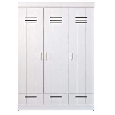Connect Contemporary 3 Door Locker Style Wardrobe with Drawers by Woood