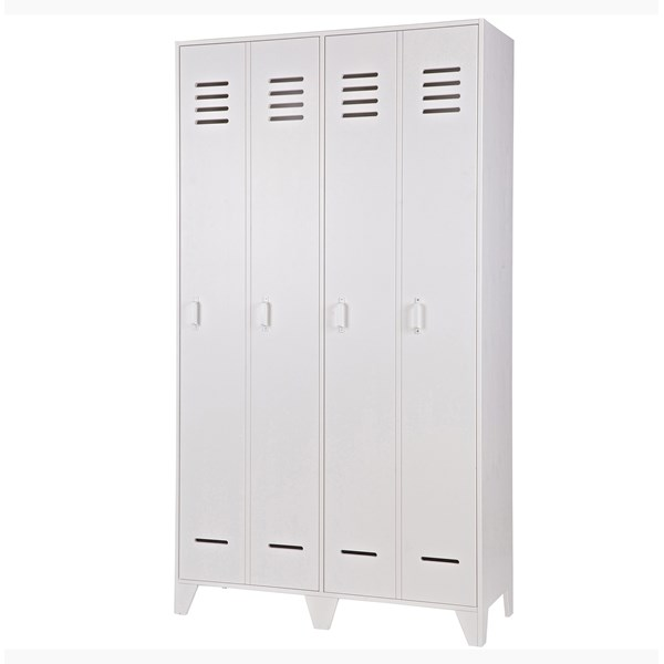 Kids Locker Style Wardrobe in White Pine
