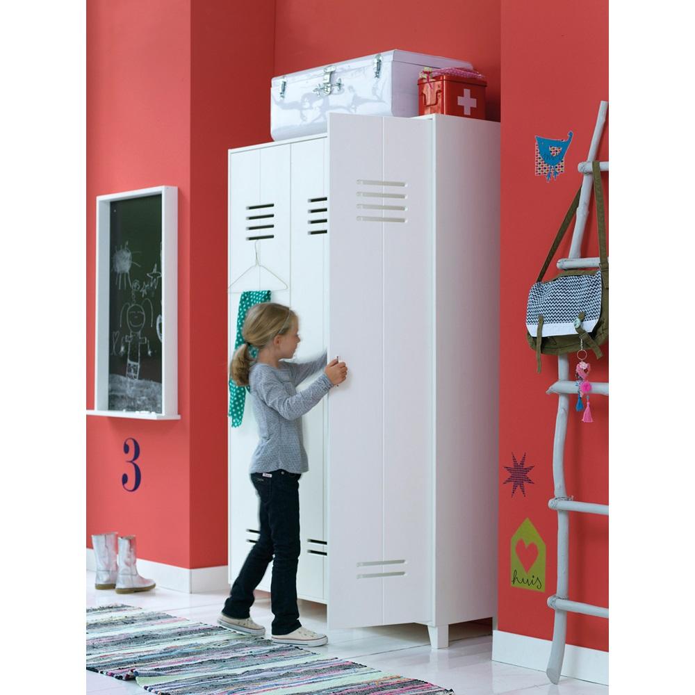 Kids Locker Style 3 Door Wardrobe In White Pine Woood