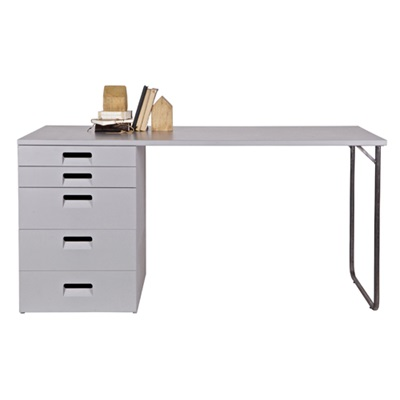 Industrial Kids Locker Desk with Storage in Hertog Grey by Woood