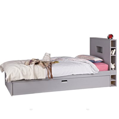 CONTEMPORARY KIDS LOCKER TRUNDLE BED in Hertog Grey