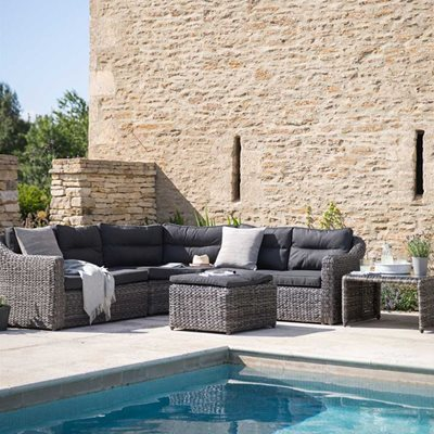 GARDEN TRADING LODSWORTH OUTDOOR CORNER SOFA SET in Rattan