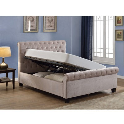 LOLA UPHOLSTERED OTTOMAN BED IN MINK by Flair Furnishings