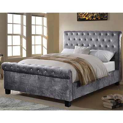 LOLA UPHOLSTERED BED IN SILVER by Flair Furnishings