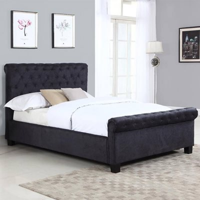 LOLA UPHOLSTERED OTTOMAN BED IN BLACK by Flair Furnishings