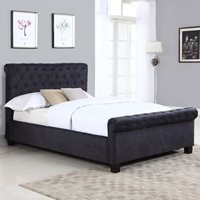 LOLA UPHOLSTERED OTTOMAN BED IN BLACK by Flair Furnishings  King