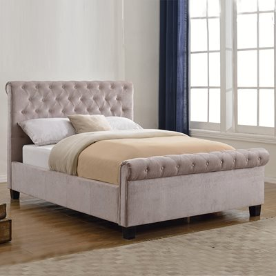 Lola Upholstered Bed in Mink by Flair Furnishings