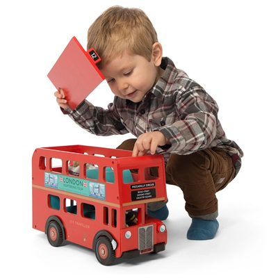 LE TOY VAN BUDKINS WOODEN LONDON BUS with Driver