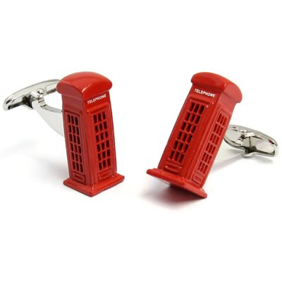 Telephone Box Cufflinks in Chrome Box