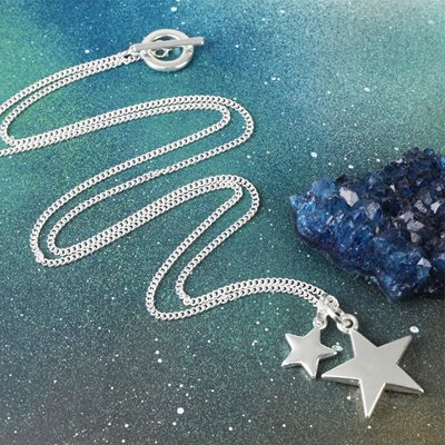 PERSONALISED DOUBLE STAR PENDANT NECKLACE