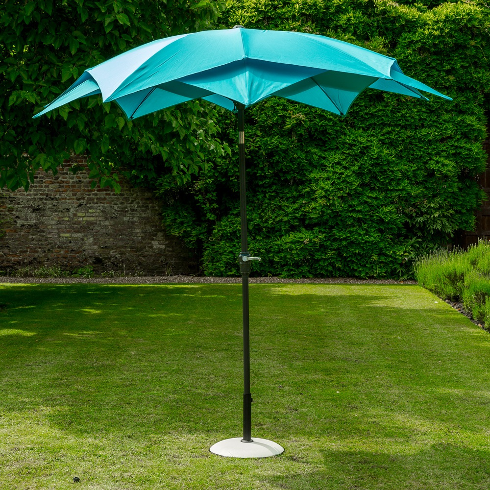 Lotus Garden Parasol In Aqua Blue Norfolk Leisure