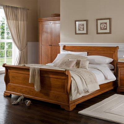 WILLIS & GAMBIER LOUIS PHILIPPE WOODEN SLEIGH BED FRAME