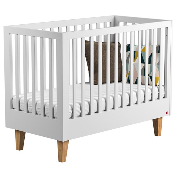 Lounge Baby and Toddler Cot Bed in White & Oak