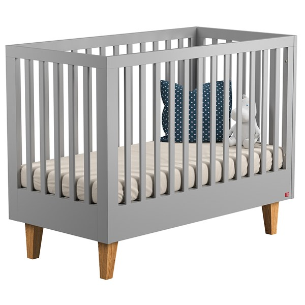 Lounge Baby Cot in Light Grey & Oak