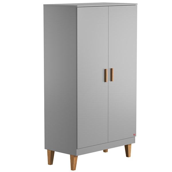Lounge Double Wardrobe in Light Grey & Oak