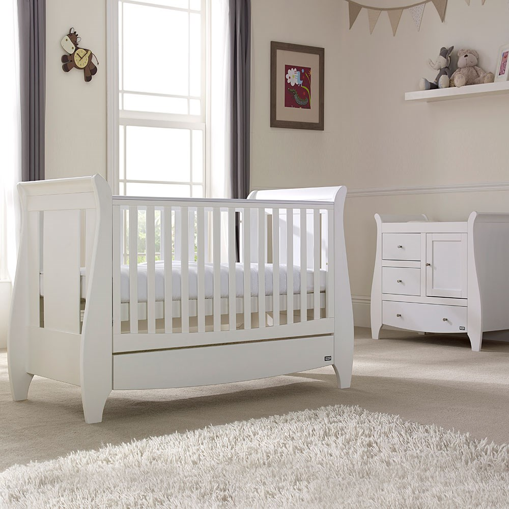 innovative design 4a71f e8b9d Tutti Bambini Lucas Cot Bed 2 Piece Nursery Set in White with Optional Free  Mattress