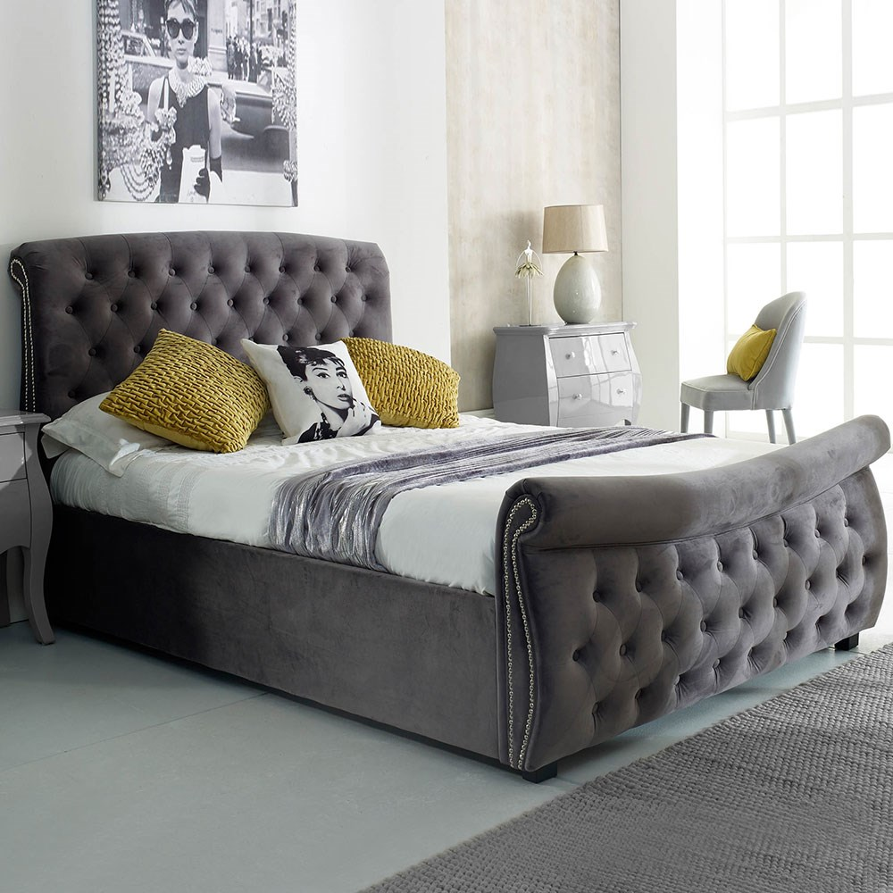 Astonishing Lucinda Upholstered Side Ottoman Bed In Silver By Flair Furnishings Cjindustries Chair Design For Home Cjindustriesco