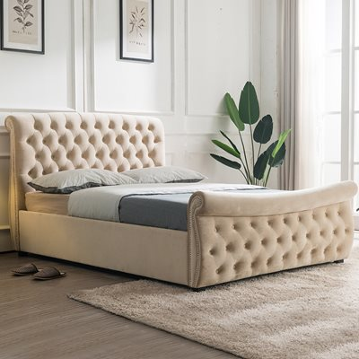 LUCINDA UPHOLSTERED SIDE OTTOMAN BED by Flair Furnishings