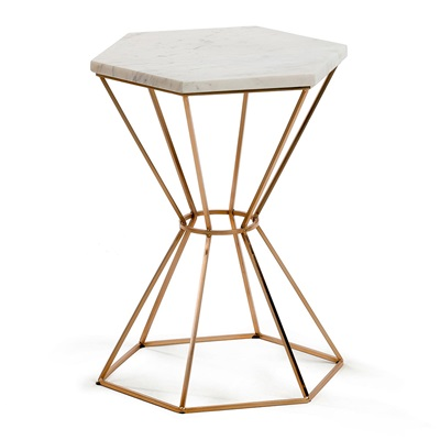 LIMIT SMALL SIDE TABLE in Marble and Copper
