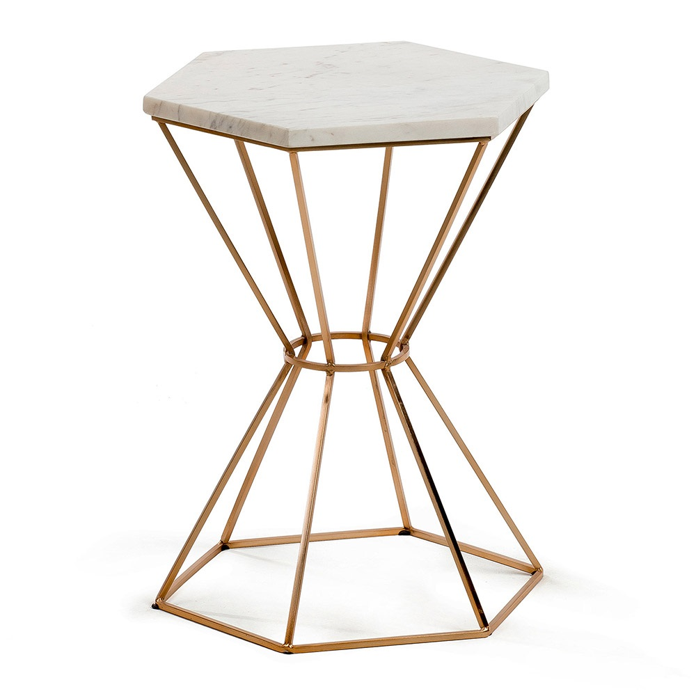 limit small side table in marble and copper casa lujo cuckooland. Black Bedroom Furniture Sets. Home Design Ideas
