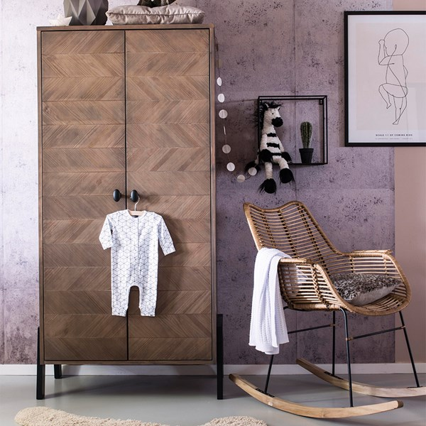 Retro Style Parquet Design Wardrobe