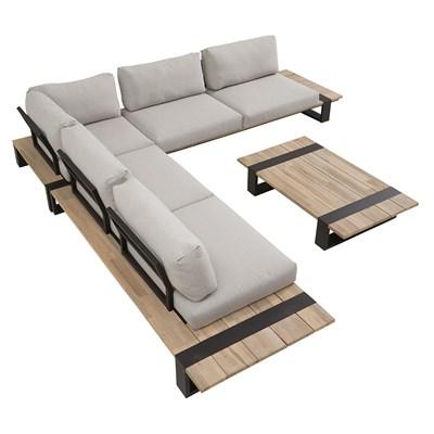 ... Luxury Garden Corner Sofa Set With Teak Wooden  ...