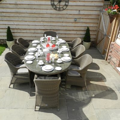 Sussex Garden Dining Set with Oval Table by 4 Seasons Outdoor