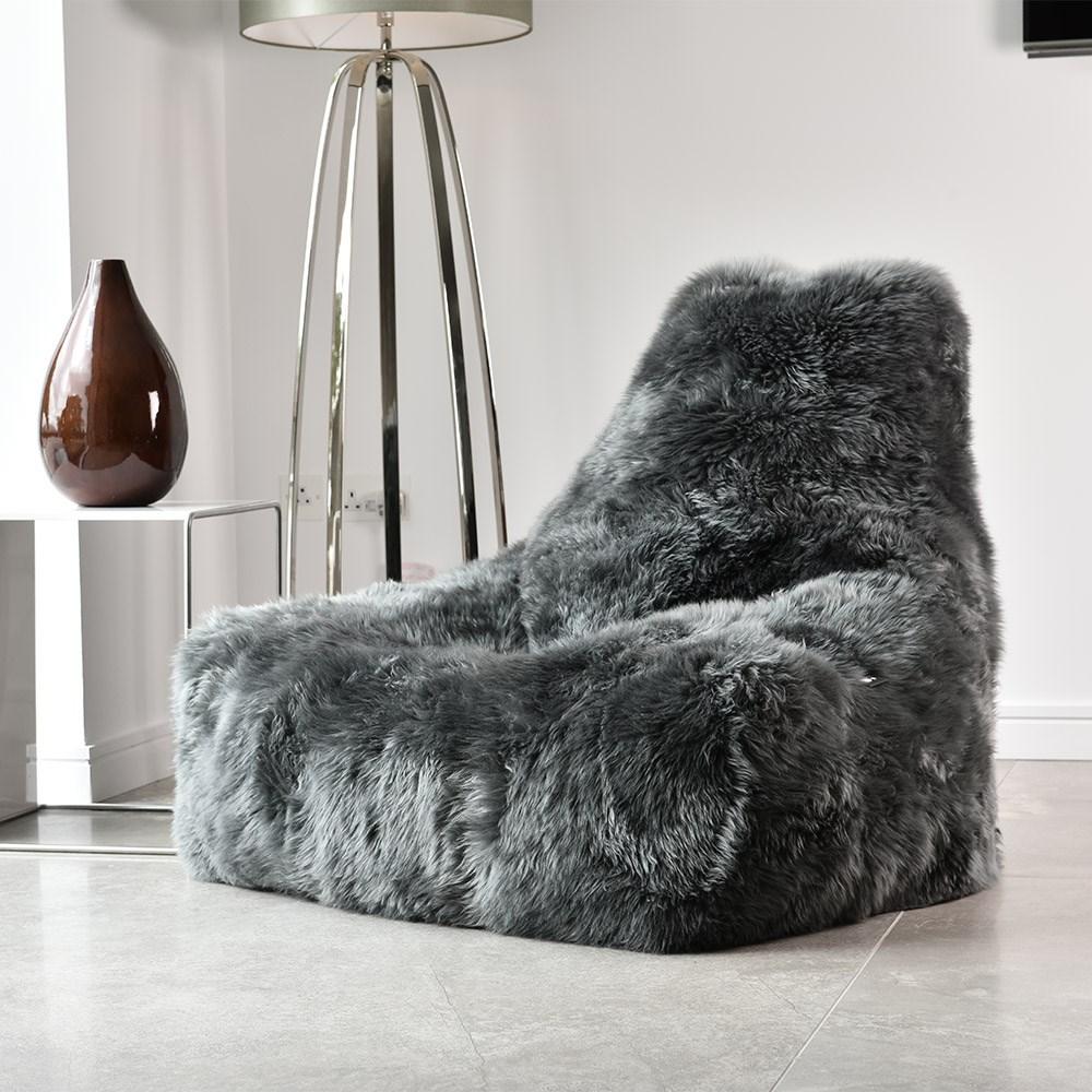 Extreme Lounging Mighty B Sheepskin Fur Bean Bag In Grey