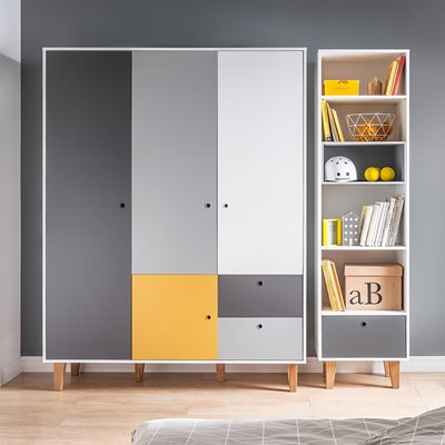 Vox Concept 3 Door Wardrobe in Grey & Yellow
