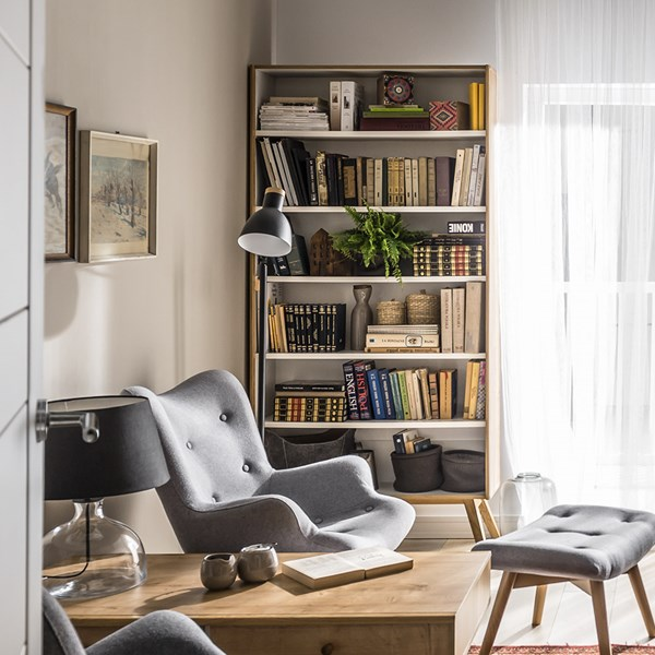 Nature Tall Wooden Bookcase in White & Oak