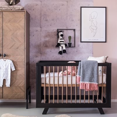 HARPER WOODEN BABY COT in Black