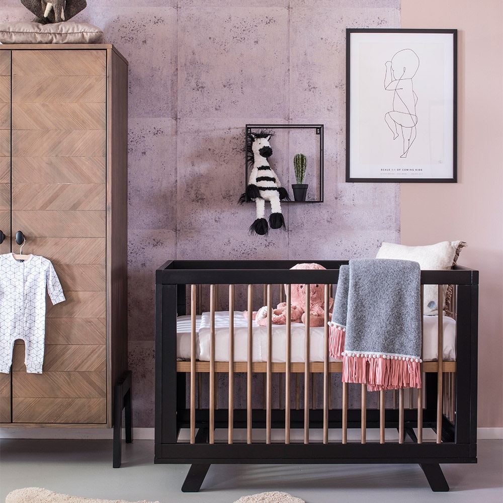 Canopy Style Bed Available For Order In These Wood Colours: Harper Wooden Baby Cot In Black - Coming Kids