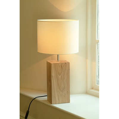 MEGEVE RECLAIMED ELM LAMP with Shade by Garden Trading
