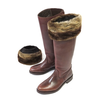 VINTAGE CARAMEL Faux Fur Boot Toppers by Helen Moore