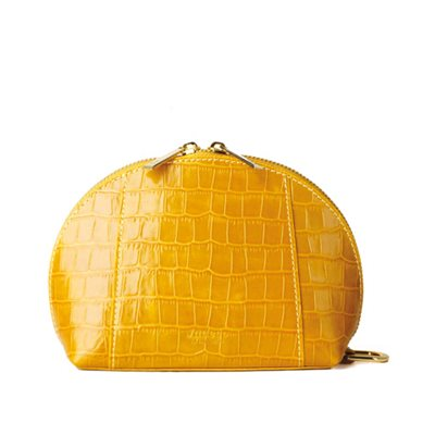 GILLAN Premium Cosmetic Bag Phone Charger in Mustard Crocos