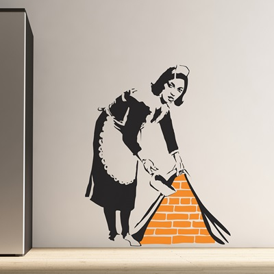 BANKSY WALL STICKER in Maid Sweeping Design