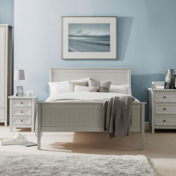 Maine Wooden Bed in Dove Grey by Julian Bowen