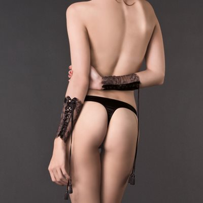 MAISON CLOSE Les Romantiques Satin and Lace-up Cuffs