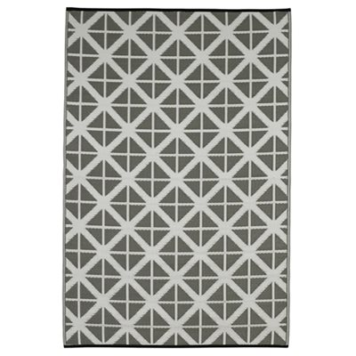 MANCHESTER OUTDOOR RUG in Grey & White Diamond