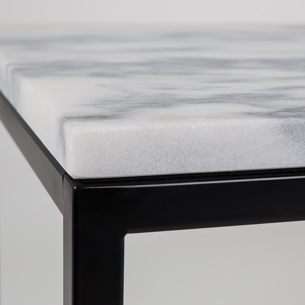 10 Smart Hacks For Having A Stylish Living Room At Low Cost: Zuiver Marble Power Coffee Table With Black Steel Frame