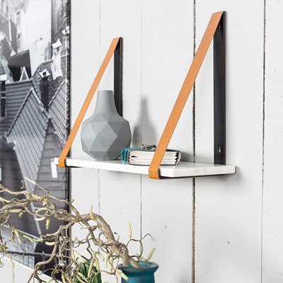 FAD MARBLE WALL SHELF in White with Buffalo Leather Straps