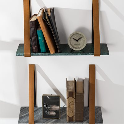 FAD MARBLE WALL SHELF in Green with Buffalo Leather Straps