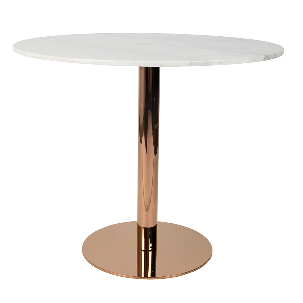Zuiver marble king round dining table with copper leg zuiver cuckooland for Table zuiver