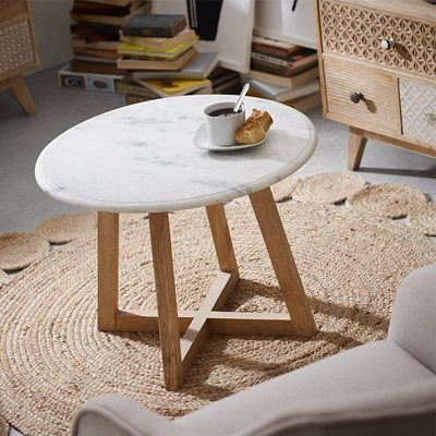 HELLA SIDE TABLE in Marble and Wood
