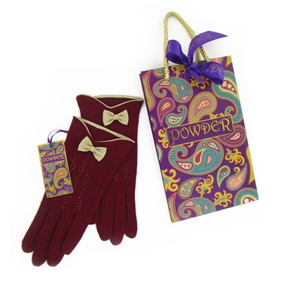 MARILYN Pure Wool Gloves in Berry and Cream