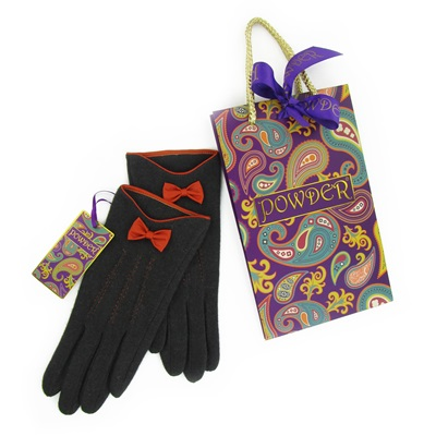 MARILYN Pure Wool Gloves in Charcoal and Tangerine