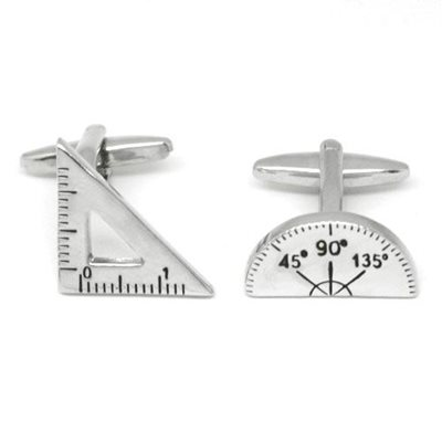MATHS SET SILVER PLATED CUFFLINKS