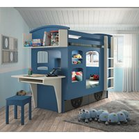 Product photograph showing Mathy By Bols Wagon Bunk Bed With Drawers - Mathy Thunderstorm Grey