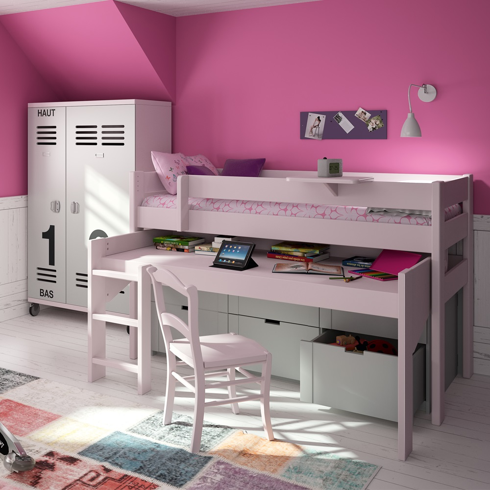 Kids Mid Sleeper Bed With Drawers Amp Rolling Desk